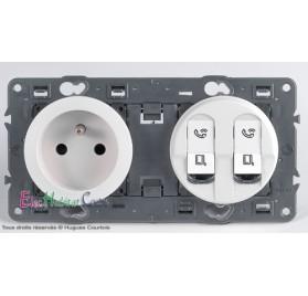 Prise de courant + double RJ45 Cat 6 FTP Céliane blanc sans plaque 67111+68112+67345x2+68252+80252