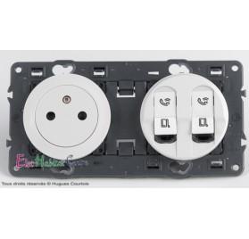 Prise de courant affleurante + double RJ45 Cat 6A STP Céliane blanc sans plaque 67111+68111+67346x2+68252+80252