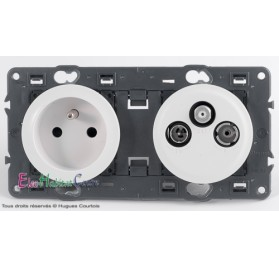 Prise de courant + prise TV/FM/SAT 1 câble Céliane blanc sans plaque 67111+68112+67388+68285+80252