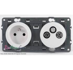 Prise de courant + prise TV/FM/SAT 2 câbles Céliane blanc sans plaque 67111+68112+67389+68285+80252