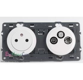 Prise de courant affleurante + prise TV/FM/SAT 1 câble Céliane blanc sans plaque 67111+68111+67388+68285+80252