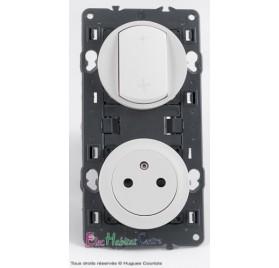 Inter VMC + prise de courant affleurante Céliane blanc sans plaque 67001+68061+67111+68111+80252