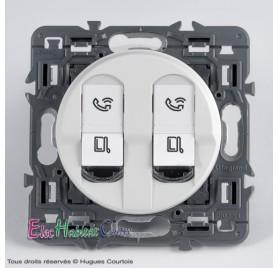 Double prise RJ45 catégorie 6A STP Céliane blanc sans plaque 67346x2+68252+80251