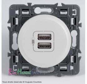 Prise double USB Céliane blanc sans plaque 67462+68256+80251