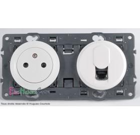 Prise de courant affleurante + RJ45 Cat 6 UTP Céliane blanc sans plaque 67111+68111+67344+68237+80252