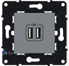 Prise double USB magnésium Arnould 64237
