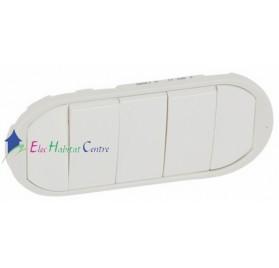 Manette interrupteur, va et vient ou poussoir 5 commandes compactes Céliane blanc Legrand 068011