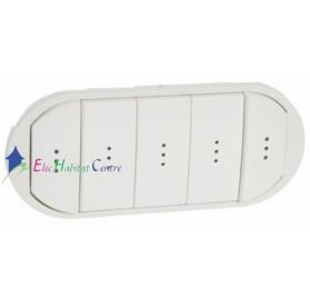 Manette interrupteur, va et vient ou poussoir 5 commandes compactes à voyant Céliane blanc Legrand 068020