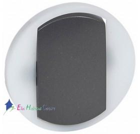 Manette à voyant interrupteur, va et vient ou poussoir couronne lumineuse Céliane graphite Legrand 065204