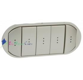Manette interrupteur, va et vient ou poussoir 5 commandes compactes à voyant Céliane titane Legrand 068320