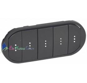 Manette interrupteur, va et vient ou poussoir 5 commandes compactes à voyant Céliane graphite Legrand 067906