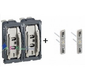Mécanisme double interrupteur/va et vient témoin 10A Céliane Legrand 067001x2 + 067688x2
