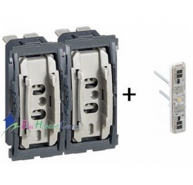 Mécanisme interrupteur/va et vient témoin 10A + poussoir 6A Céliane Legrand 067001+067688+067031