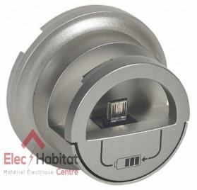 Enjoliveur prise chargeur 2 USB 1500mA version Dock Céliane titane Legrand 068510