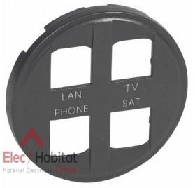 Enjoliveur graphite prise quadruple RJ45 STP réseau optimum Céliane Legrand 067994