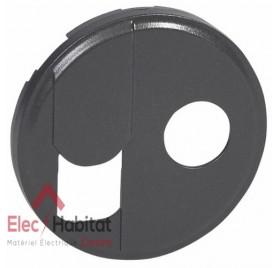 Enjoliveur graphite prise RJ45 UTP ou FTP catégorie 6 + TV simple ou type F Céliane Legrand 067939