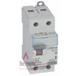 Inter différentiel 2P63A 300mA sélectif type AC Vis/Vis de marque Legrand, référence 411543