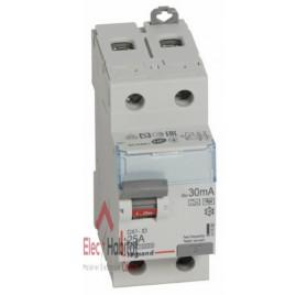 Inter différentiel 2P25A 30mA type HPI Vis/Vis de marque Legrand, référence 411590