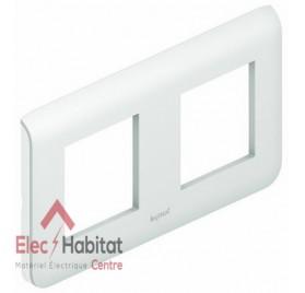 Plaque double horizontale entraxe 71mm Mosaic blanc Legrand 078804