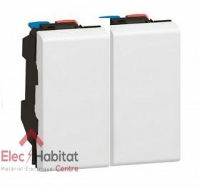 Va et vient 10A+bouton poussoir 6A 2 modules Mosaic blanc Legrand 077001+077030