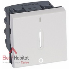 Interrupteur bipolaire 20A à voyant 2 modules Mosaic blanc Legrand 077052