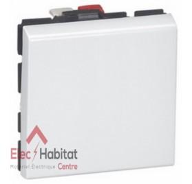 Bouton poussoir 6A 2 modules Mosaic blanc Legrand 077040