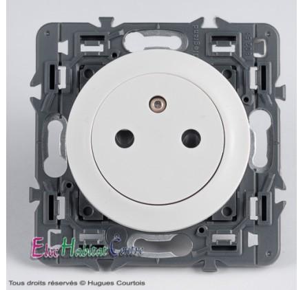 Prise 2P+T 16A affleurante Legrand Céliane blanc 67111+68111+80251
