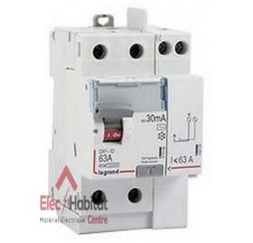 Interrupteur différentiel 2P63A 30mA type AC Vis/Vis Legrand 411612