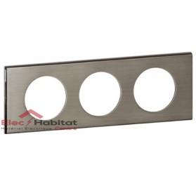 Plaque triple entraxe 71mm matière Inox Brossé Céliane Legrand 069103