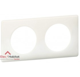 Plaque double entraxe 71mm Yesterday blanc Legrand 066632