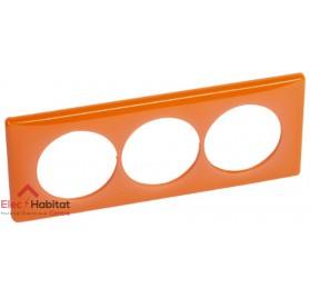 Plaque triple entraxe 57mm 70's orange Legrand 066659