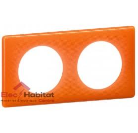 Plaque double 70's orange entraxe 71mm Legrand 066652