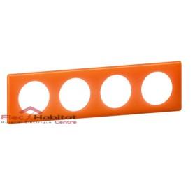 Plaque quadruple entraxe 71mm 70's orange Legrand 066654