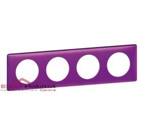 Plaque quadruple Métal violet irisé entraxe 71mm Legrand 068714
