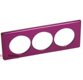Plaque triple Métal violet irisé entraxe 57mm Legrand 068719