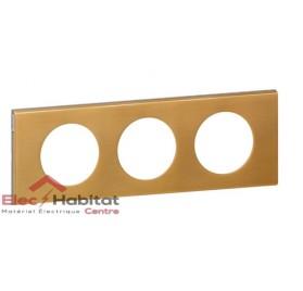 Plaque triple Matière bronze doré entraxe 71mm Legrand 069133
