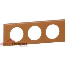 Plaque triple Matière cuir caramel entraxe 71mm Legrand 069423