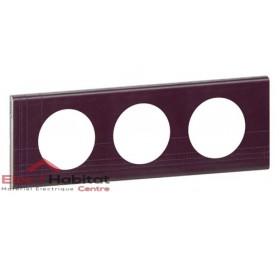 Plaque triple Matière cuir pourpre couture entraxe 71mm Legrand 069443