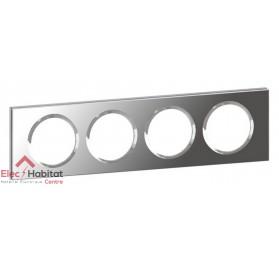 Plaque quadruple Matière verre miroir entraxe 71mm Legrand 069124