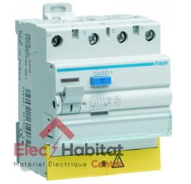 Interrupteur différentiel 4P63A 30 mA type AC à vis bornes décalée Hager CDC863F