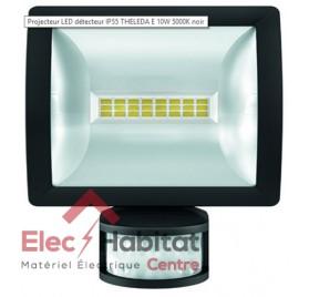 Projecteur LED avec détecteur noir 10w theLeda E10 BK 750Lm IP55, 5000K blanc froid Theben 1020912