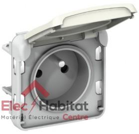 Prise de courant 2P+T 16A composable étanche Plexo blanc Legrand 069621