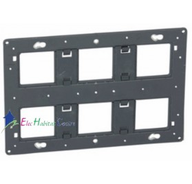 Support 2x3 postes, 2x6/8 modules Céliane, Mosaic Legrand 080266