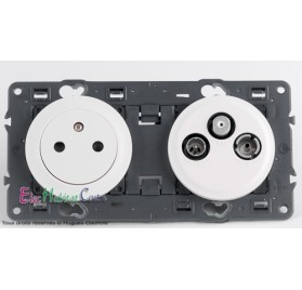 Prise de courant affleurante + prise TV/FM/SAT 2 câbles Céliane blanc sans plaque 67111+68111+67389+68285+80252