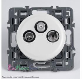 Prise TV/FM/SAT 2 câbles Céliane blanc sans plaque 67389+68285+80251