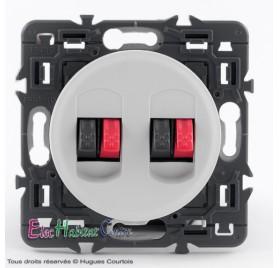 Prise double haut-parleur Céliane blanc sans plaque 67311x2+68212+80251