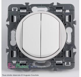 Double bouton poussoir 6A Céliane blanc sans plaque 67031x2+68002+80251