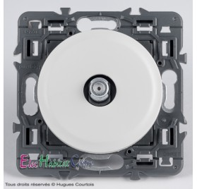 Prise TV type F blanc sans plaque céliane Legrand 67380+68282+80251
