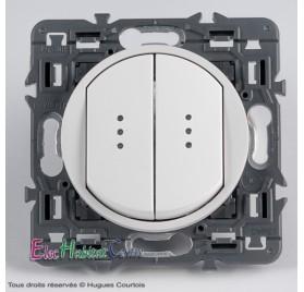 Double bouton poussoir lumineux Céliane blanc sans plaque 67031x2+67686x2+68004+80251