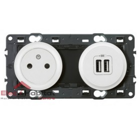 Prise de courant affleurante+double USB 2400mA Céliane blanc sans plaque 67106+68111+68256+80251